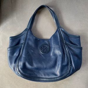 Tory Burch Bags - Tory Burch Navy Blue Pebbled Leather Hannah Hobo